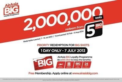 亞航BIG 忠誠計劃會員優先參與2,000,000促銷航班銷售