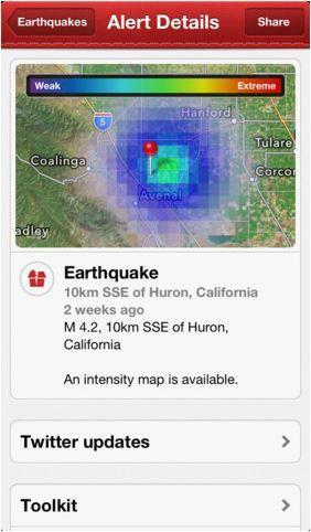 紅十字會推出的地震情報app