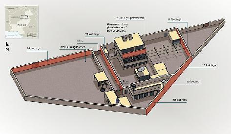 美軍公布的賓拉登藏身的三層豪宅結構圖。(圖片來源:維基百科)