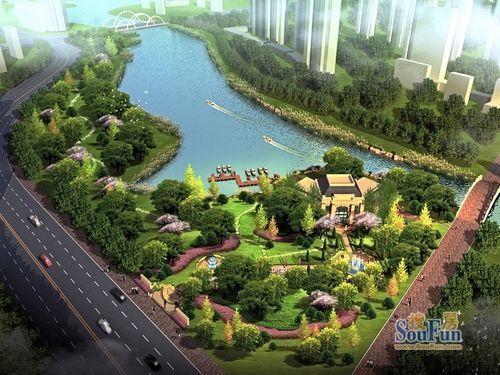 龍湖唐寧one效果圖內河邊公園