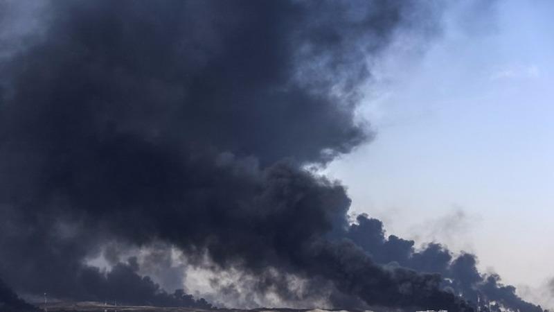 摩蘇爾戰火彌漫。 (圖:AFP)
