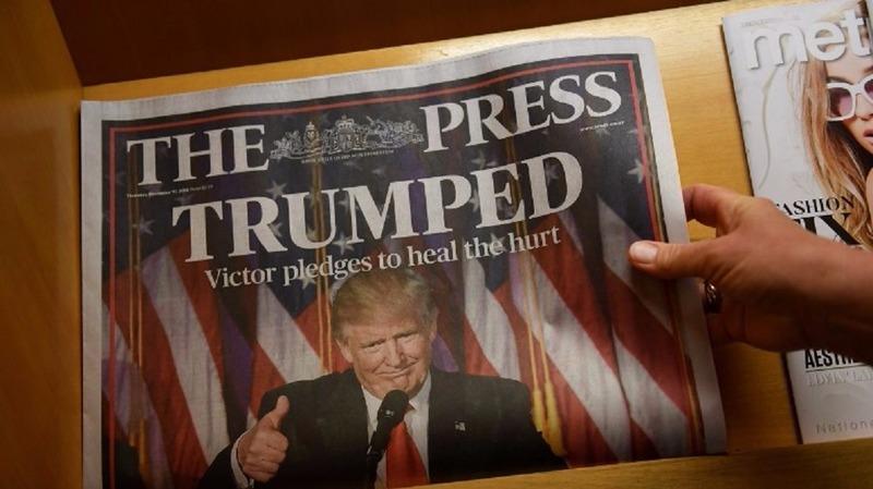 紐西蘭新聞報紙頭版刊登川普勝選消息。(圖: AFP)