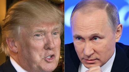 川普(左)與俄羅斯總統普丁(右)。(圖片來源:AFP)