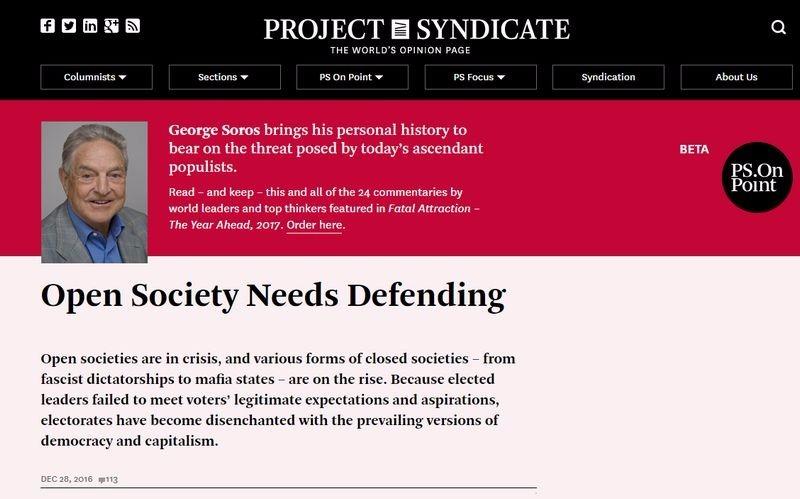 索羅斯刊文警告民主制度已經陷入危機,法西斯主義獨裁者及黑手黨式的國家正在崛起 圖片來源:Project Syndicate