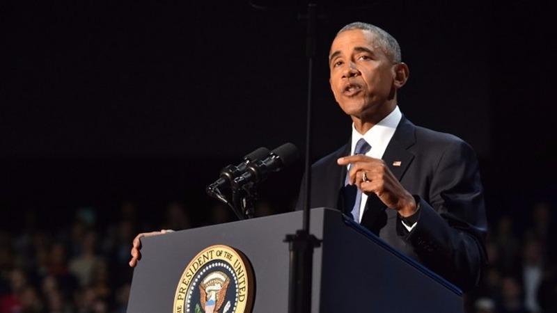 歐巴馬10日晚在芝加哥向美國民眾發表告別演說。  (圖:AFP)