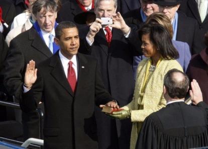 2009年1月20日,歐巴馬宣誓就任美國總統。圖片來源:中新網