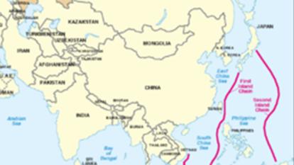 中國不久將突破「第二島鏈」直抵東太平洋。  (圖:維基百科)
