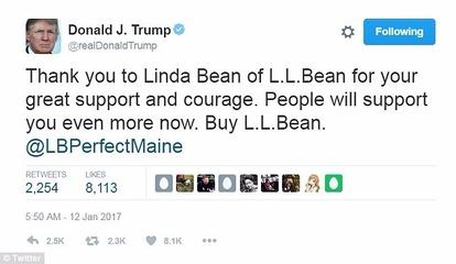 川普推文:感謝里昂比恩及 Linda Bean 的極大支持與勇氣。人們將會更加支持你,快買里昂比恩。(@realDonaldTrump)