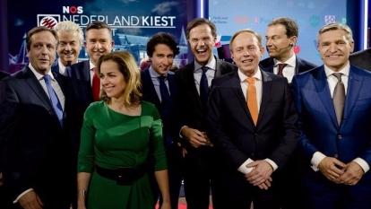荷蘭國會大選今(15)日登場,選前候選人進行辯論。  (圖:AFP)