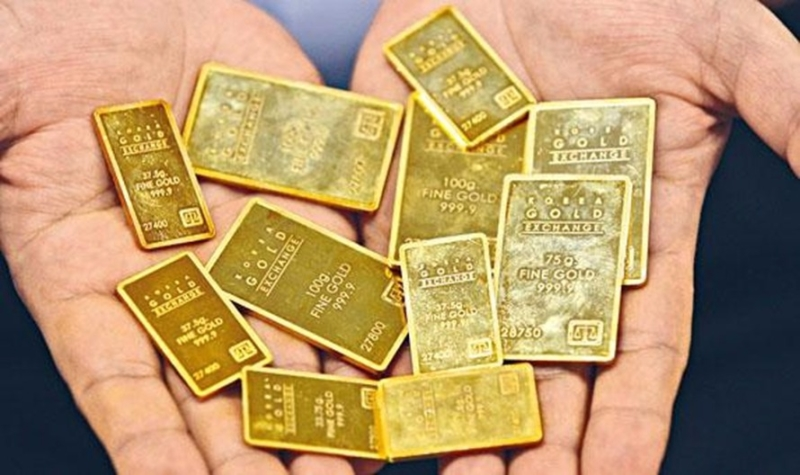 南韓黃金交易展示的小金條。 圖片來源:星島日報