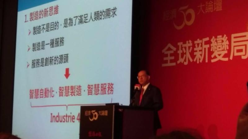 上銀科技董事長卓永財今日對匯率問題作回應。(鉅亨網記者宋宜芳攝)