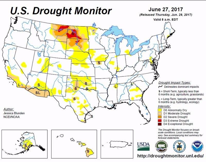 美國 USDA 乾旱監測 圖片來元:USDA