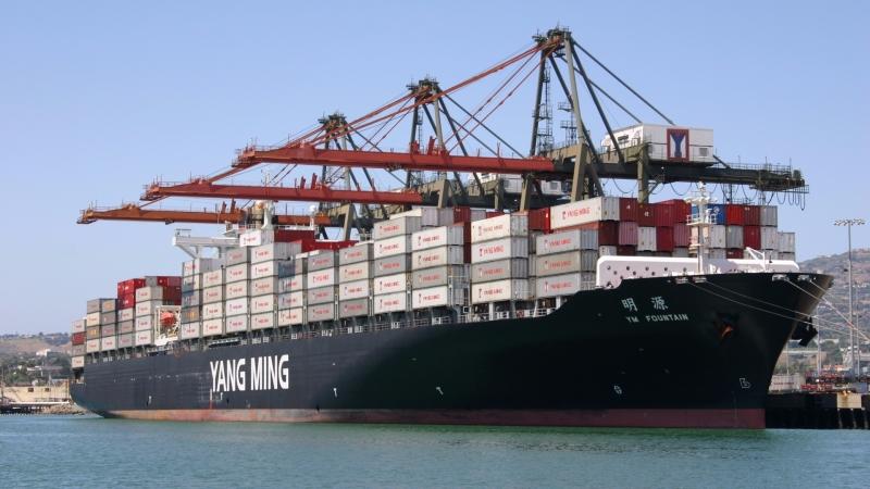 海運否極泰來,陽明、長榮7月業績大跳升。圖為陽明旗下貨櫃船。(圖:陽明海運提供)