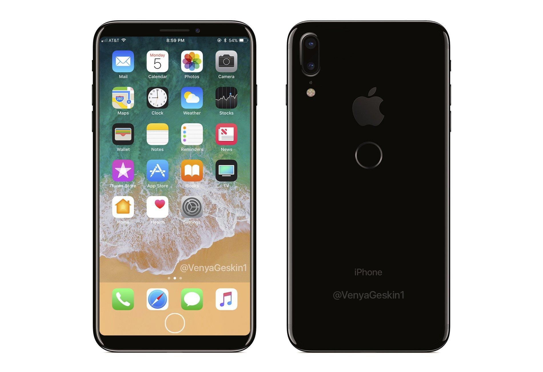 外媒報導指出,iPhone8可能將延後至11月發表。圖為i8 指紋辨識設計圖。(圖/翻攝自Benjamin Geskin推特)