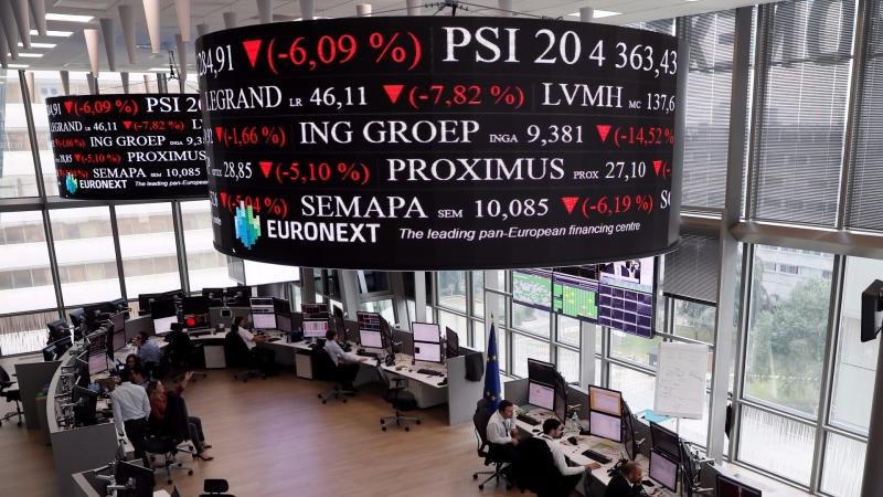 圖:AFP  歐股收低 並創今年跌幅最大一週