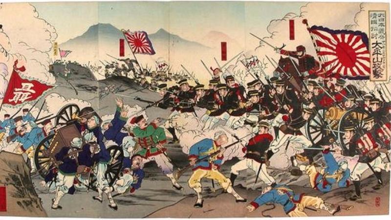 甲午戰爭,清、日交戰圖。(圖片來源:sina)