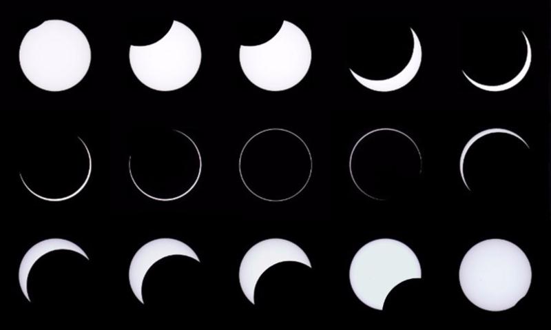 日全食過程。 (圖:AFP)