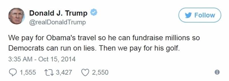「我們付錢讓歐巴馬旅行,讓他可以籌資百萬美元,讓民主黨以謊言執政。然後我們付錢讓他打高爾夫。」圖片來源:川普推特