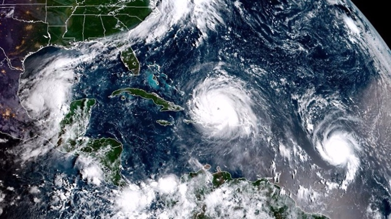 艾瑪、何塞、凱蒂亞3大颶風在大西洋一起發飆。 (圖:AFP)