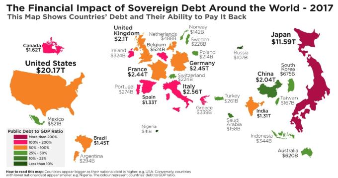 深紅和粉紅標示的國家債務占GDP比重超過100%。(圖:HowMuch.net網站 )