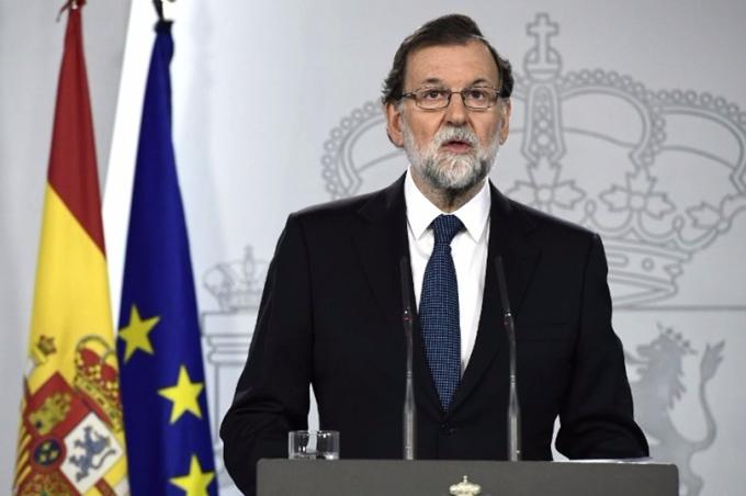 西班牙首相拉荷義 (Mariano Rajoy) 在公投結束後即時聲稱「加泰隆尼亞今天沒有獨立公投」。 (圖:AFP)