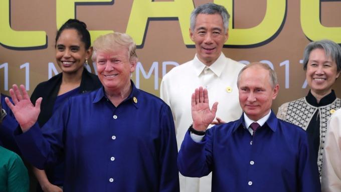 美國總統川普(左二)、俄羅斯總統普丁(右二)均出席APEC會議(圖:AFP)