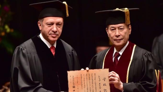 土耳其總統Recep Tayyip Erdoğan獲得日本早稻田大學榮譽法學位(圖:AFP)