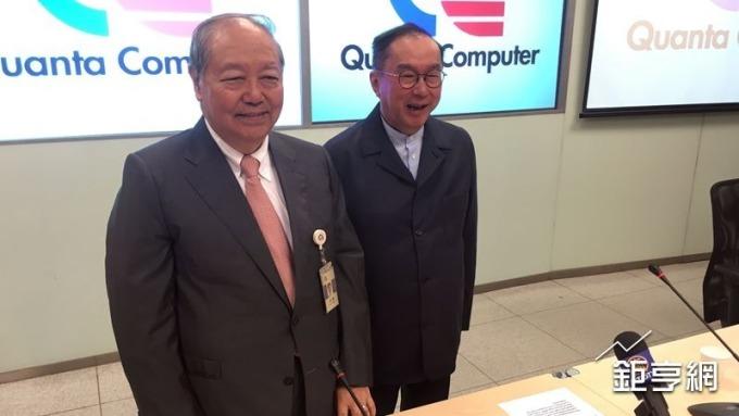 廣達董事長林百里(右)與副董梁次震(左)。(鉅亨網記者蔡宗憲攝)