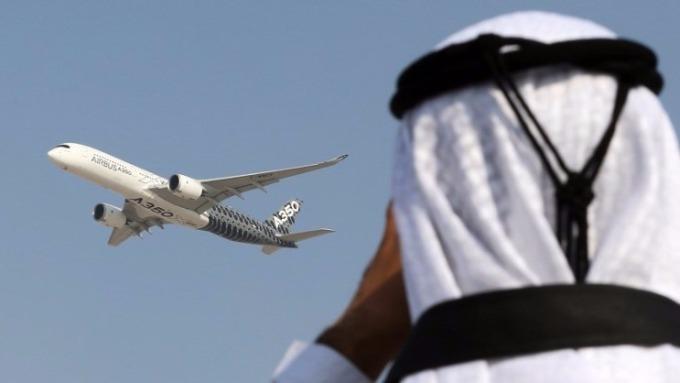 杜拜航空展上的Airbus A350。(圖:AFP)