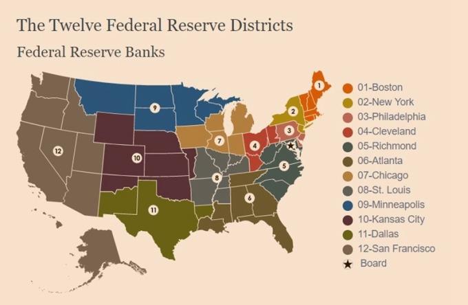 聯準會 12 間銀行 / 圖:聯準會
