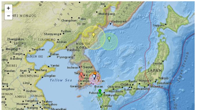 南韓發生地震。(圖取材自全球地震追蹤網)