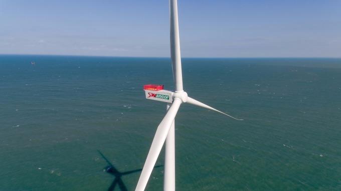上緯投控的示範風場海洋風電第一階段 8MW(百萬瓦)風機已商轉。(圖:上緯提供)