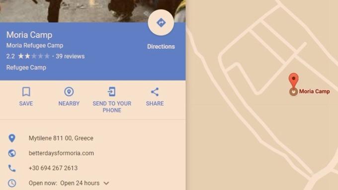 Moria 難民區 / 圖:谷歌