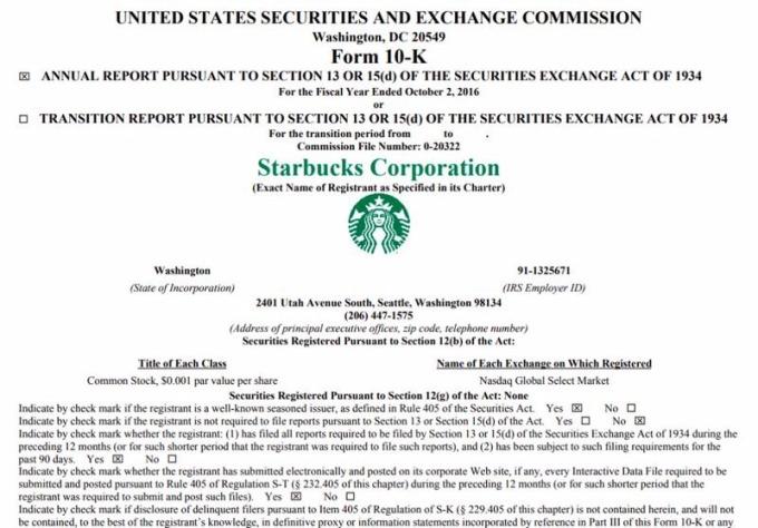 10-K 財務年報,為企業給美國證管會 (SEC) 的正式財報,內有公司運作狀況的詳細描述。資料來源│Starbucks