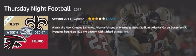 Amazon Prime會員可收看週四晚上美式足球賽事 (圖:Amazon)