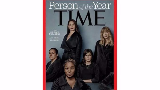 美國「時代」雜誌(TIME)6日公布「年度風雲人物」是「打破沉默的性侵受害者群」。 (圖:AFP)