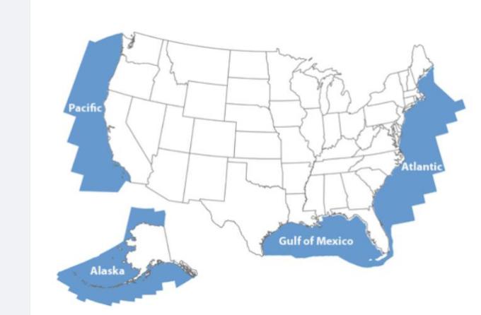 藍色部分為美國外大陸架區域