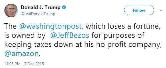 川普認為貝佐斯買下華盛頓郵報是為了亞馬遜