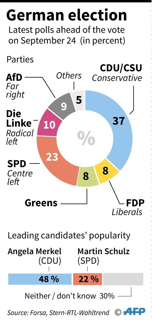 去年9月德國大選的結果      (圖:AFP)