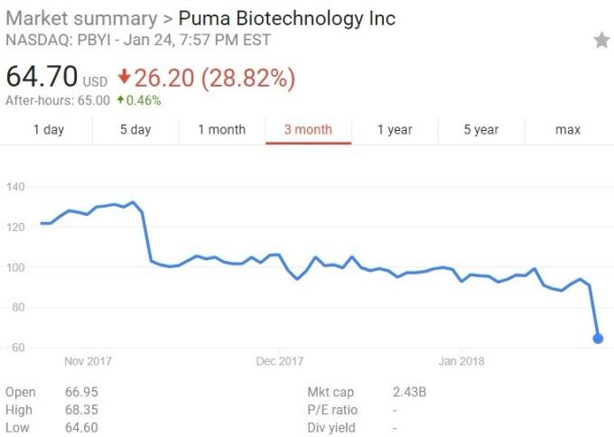 Puma 股價日線趨勢圖 / 圖:谷歌