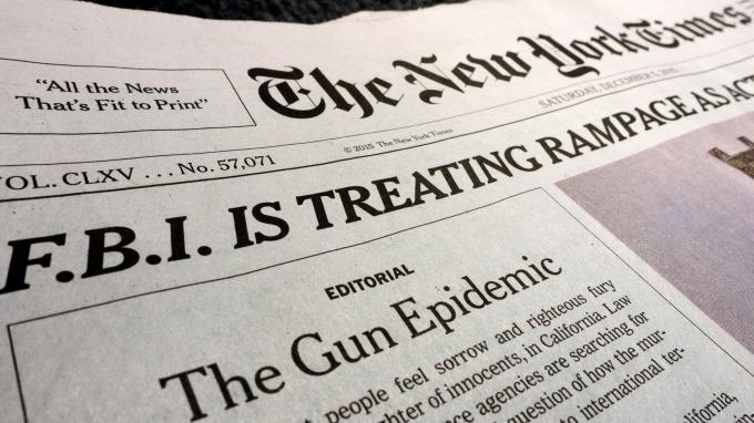 紐約時報實體報紙 (圖:AFP)