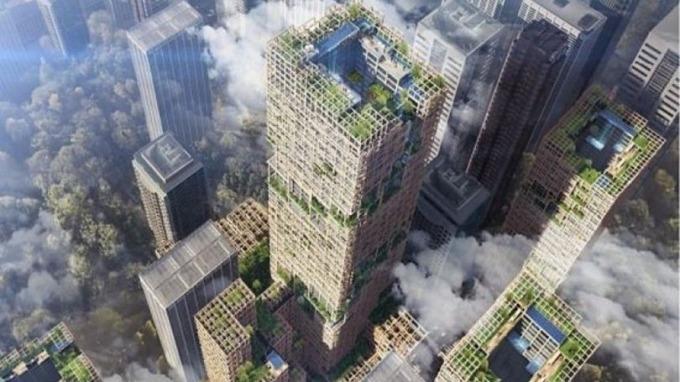 東京擬蓋70層高木造摩天大樓。 (圖取材自網路)