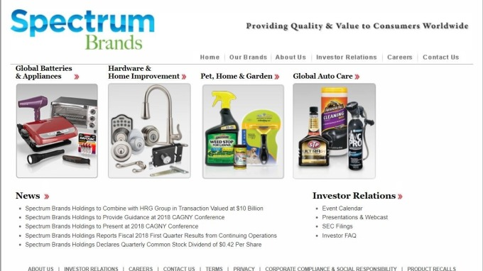 Spectrum Brands與控股公司HRG合併 交易金額100億美元