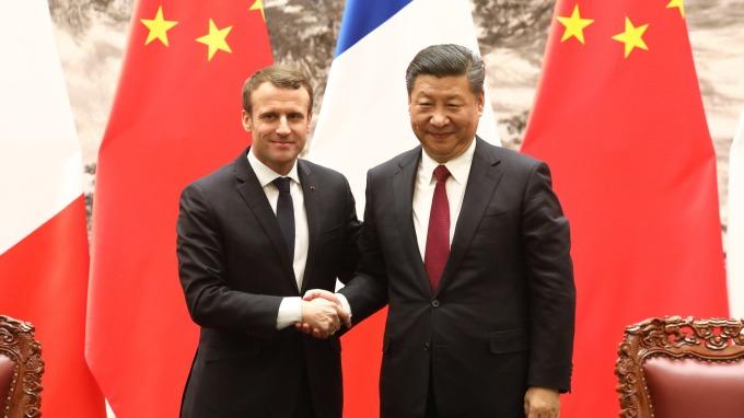 法國總統馬克宏與中國國家主席習近平(圖:AFP)