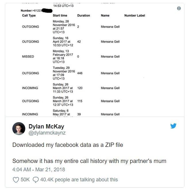 用戶條列其遭到臉書完整取得的所有通話紀錄 (圖截自推特)