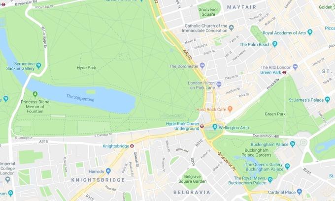 倫敦房價區域黃金三角 / 圖:谷歌