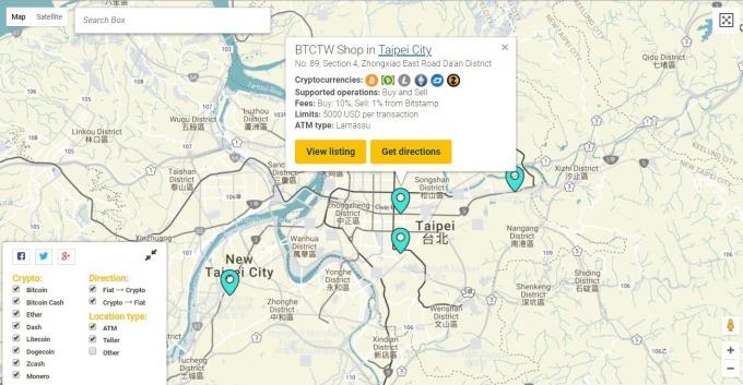 台灣北部比特幣 ATM 基台 / 圖:CoinATMradar