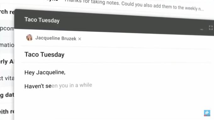 指定收件人後,新版Gmail已經幫你想好開頭。(灰色字即AI 預測的句子)