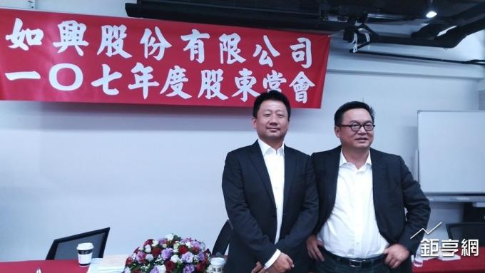 如興董事長陳仕修(右)與總經理孫瑒。(鉅亨網記者李宜儒攝)