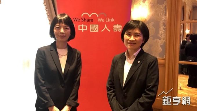 中壽副董事長郭瑜玲(左)、總經理黃淑芬(右)共同主持法說會。(鉅亨網記者陳慧菱攝)